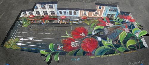 Pavement art tui by Ulla Taylor smed2