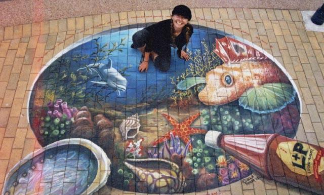 Ulla chalk art L&P dolphin guernard paua NZ05cr