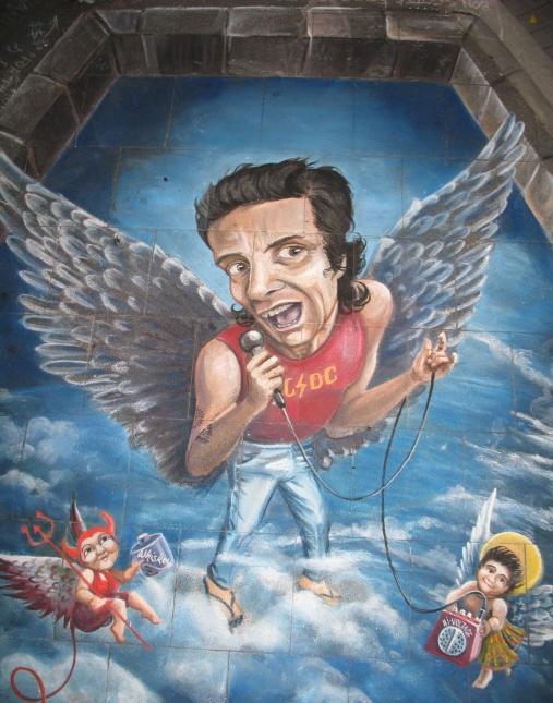 Bon Scott Acdc angel pavement art by Ulla cr m