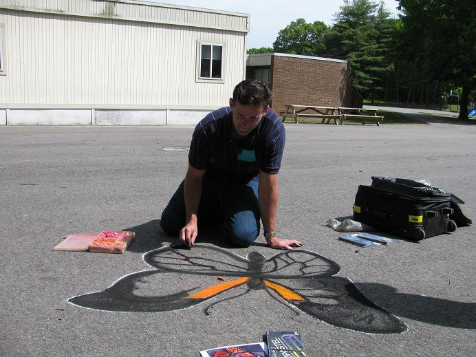 MMacaulay Elementary3 Mike Working On His Butterfly Street Painting Elementary