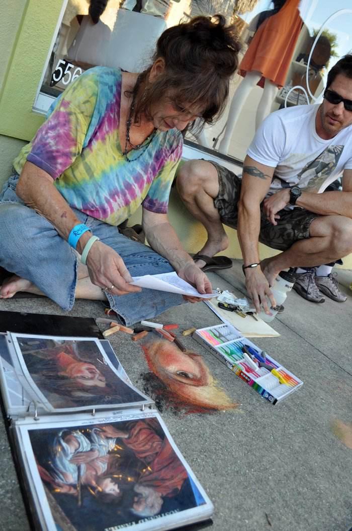 Lorelle teaching at the 1st International Street painting Festival in Sarasota FL- 2010web