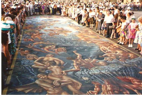 Last Judgement streetpainting by Kurt Wenner